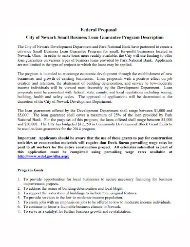 small business loan program proposal