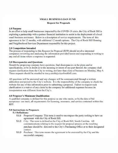 small business loan request for proposal