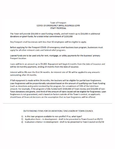 small business loan staff proposal