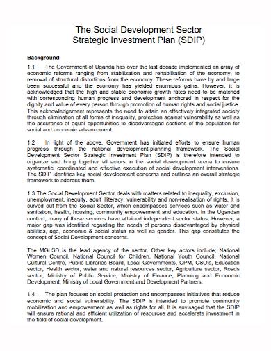 social development strategic investment plan