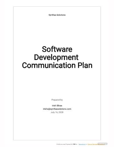 software development communication plan template