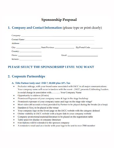 sponsorship corporate partnership proposal