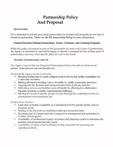 sponsorship partnership policy proposal
