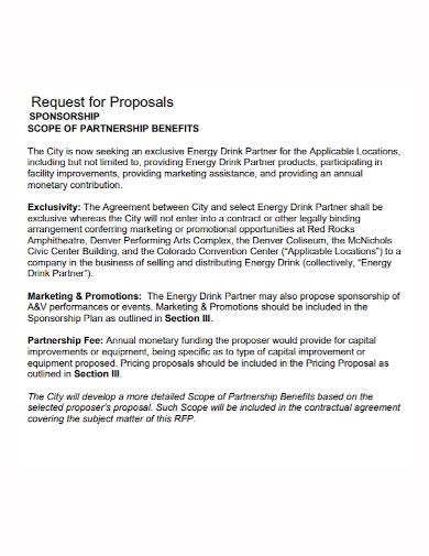 sponsorship partnership request for proposal