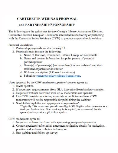 sponsorship partnership webinar proposal