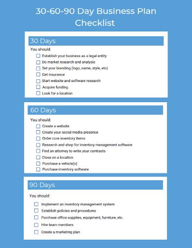 standard 30 60 90 day business plan