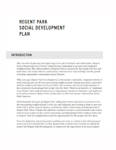 standard social development plan