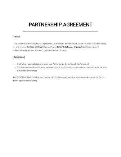 startup business partnership agreement