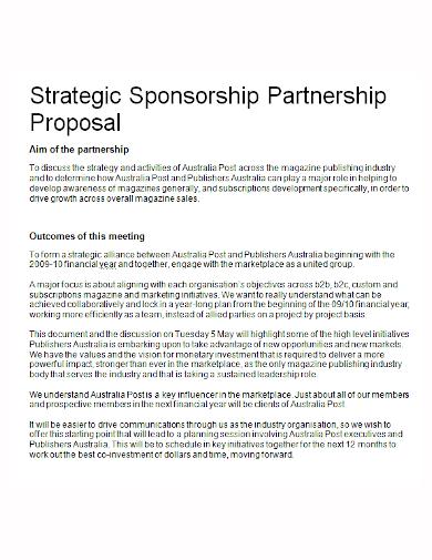 strategic sponsorship partnership proposal