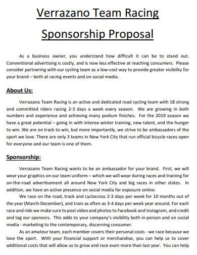 team sponsorship proposal example
