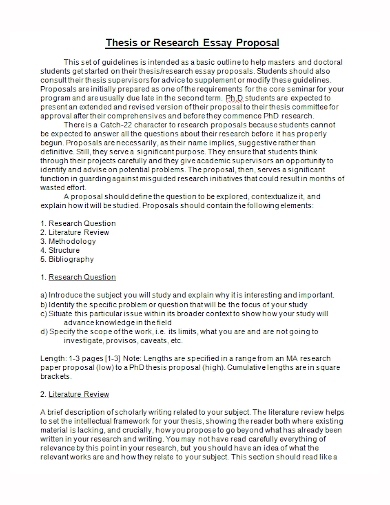 thesis research essay proposal