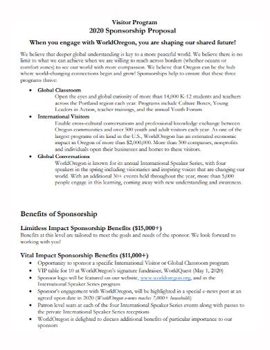 visitor program sponsorship proposal