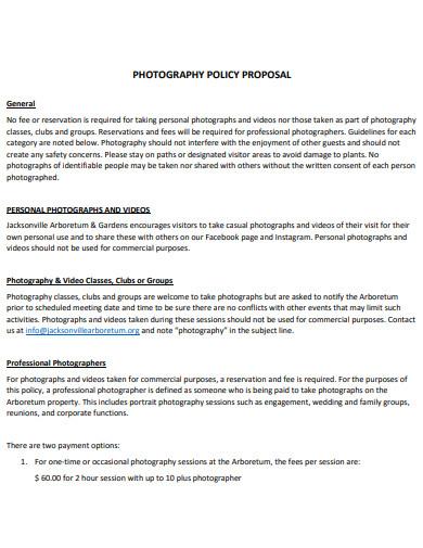wedding photography policy proposal